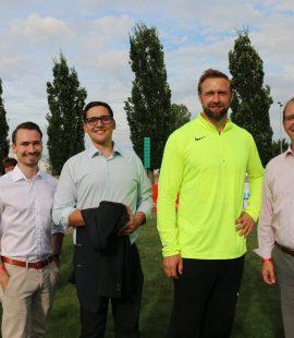 Stadtrat Philipp Körner, Kreisvorsitzender Dr. Roger Stöcker, Olympionike Robert Harting und Landrat Markus Bauer
