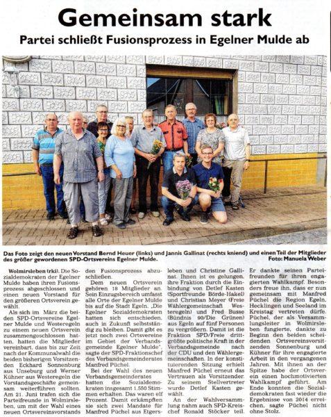 SPD OV Egelner Mulde neuer Vorstand